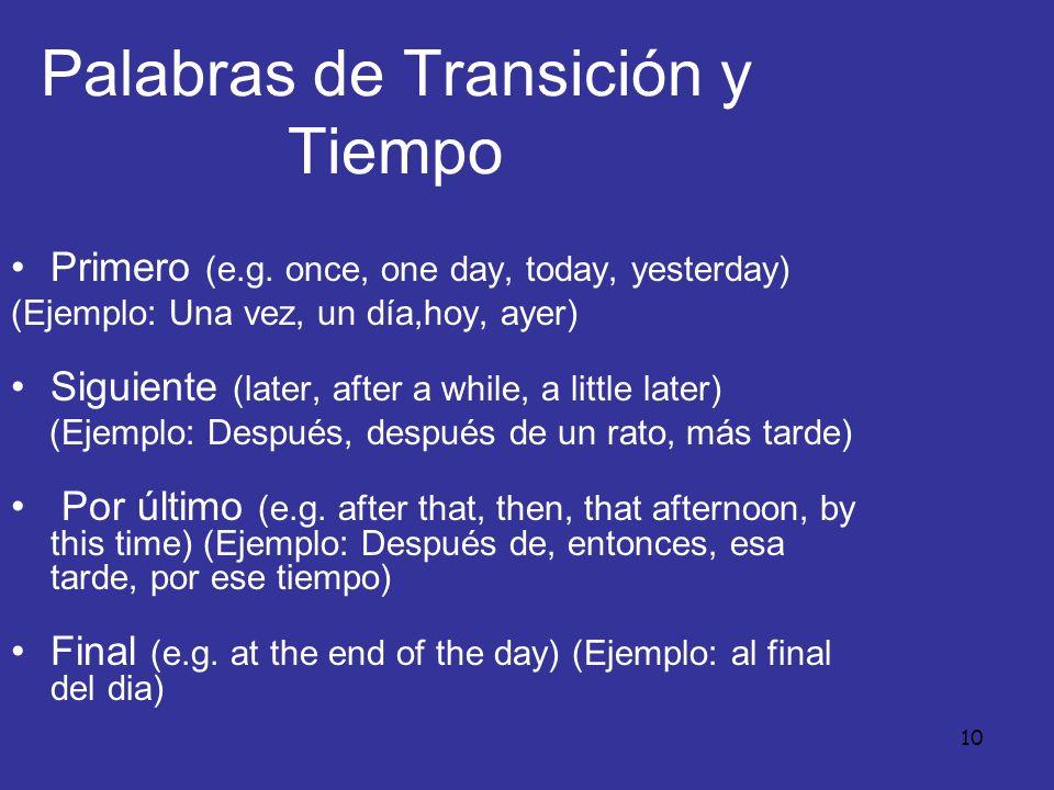 Palabras de Transición y Tiempo