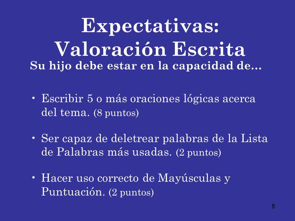 Expectativas: Valoración Escrita