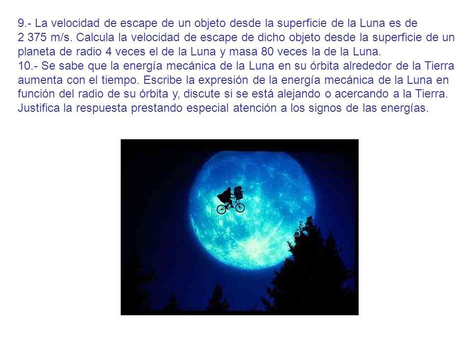 9.- La velocidad de escape de un objeto desde la superficie de la Luna es de