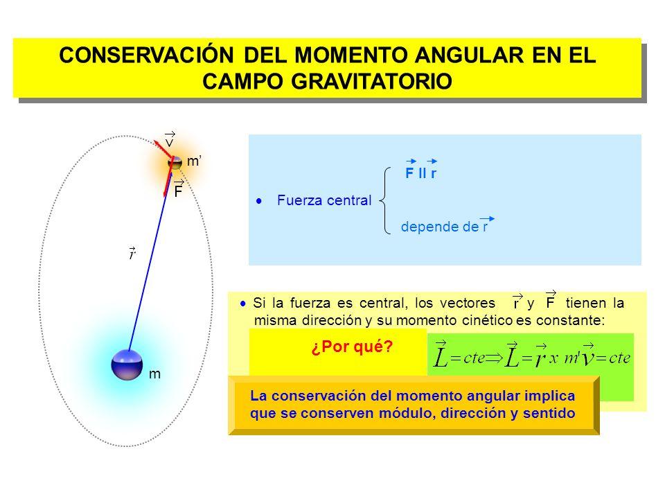 CONSERVACIÓN DEL MOMENTO ANGULAR EN EL CAMPO GRAVITATORIO
