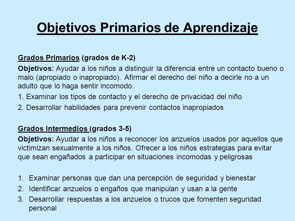 Objetivos Primarios de Aprendizaje