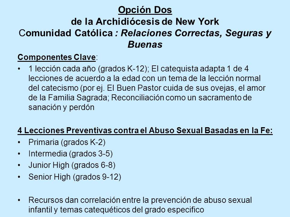 Opción Dos de la Archidiócesis de New York Comunidad Católica : Relaciones Correctas, Seguras y Buenas