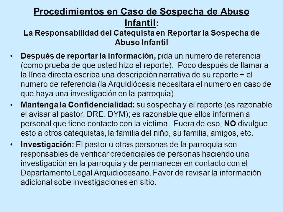 Procedimientos en Caso de Sospecha de Abuso Infantil: La Responsabilidad del Catequista en Reportar la Sospecha de Abuso Infantil