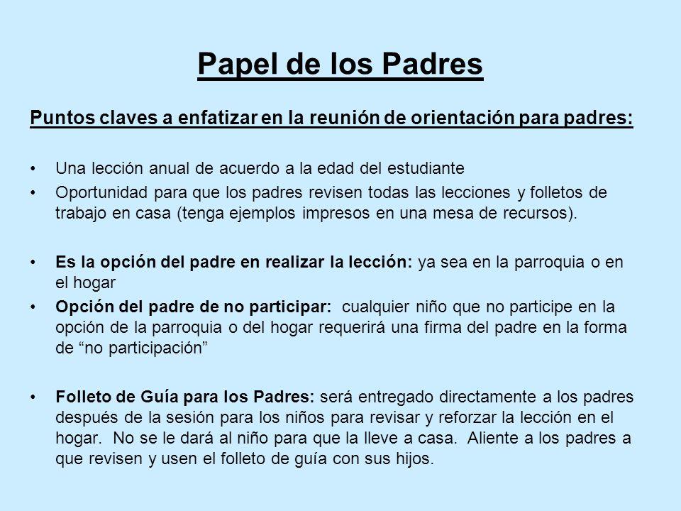 Papel de los Padres Puntos claves a enfatizar en la reunión de orientación para padres: Una lección anual de acuerdo a la edad del estudiante.