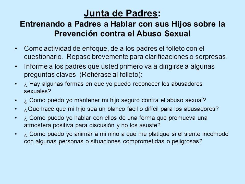 Junta de Padres: Entrenando a Padres a Hablar con sus Hijos sobre la Prevención contra el Abuso Sexual