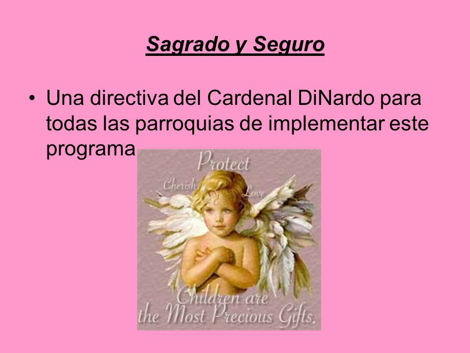 Sagrado y Seguro Una directiva del Cardenal DiNardo para todas las parroquias de implementar este programa.