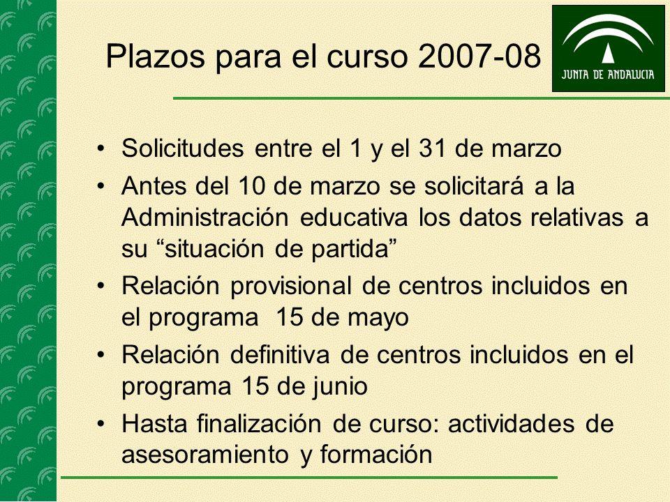 Plazos para el curso 2007-08 Solicitudes entre el 1 y el 31 de marzo