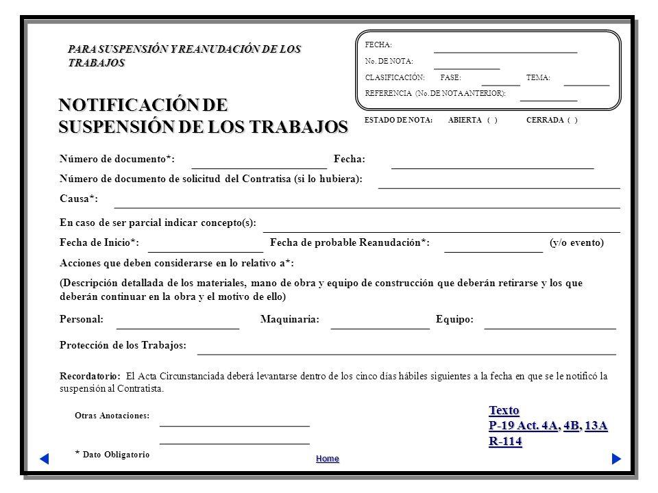 SUSPENSIÓN DE LOS TRABAJOS