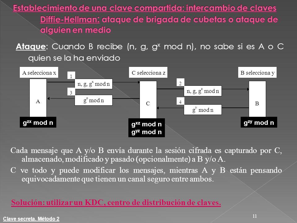 Solución: utilizar un KDC, centro de distribución de claves.