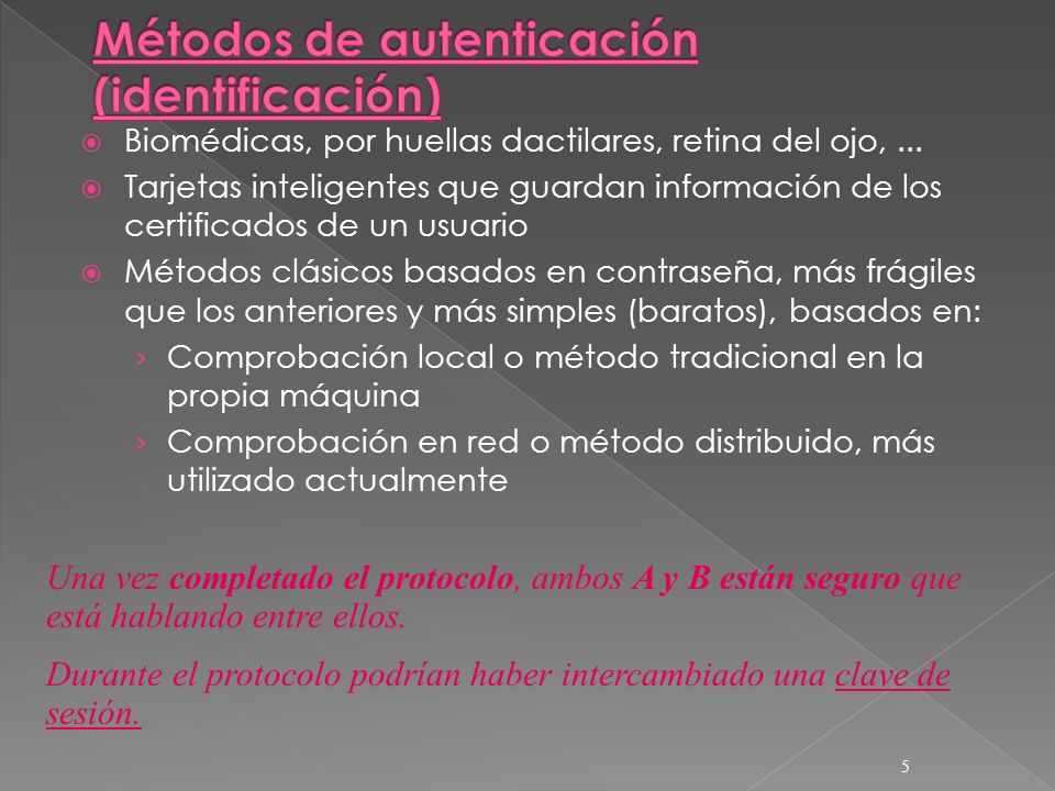 Métodos de autenticación (identificación)