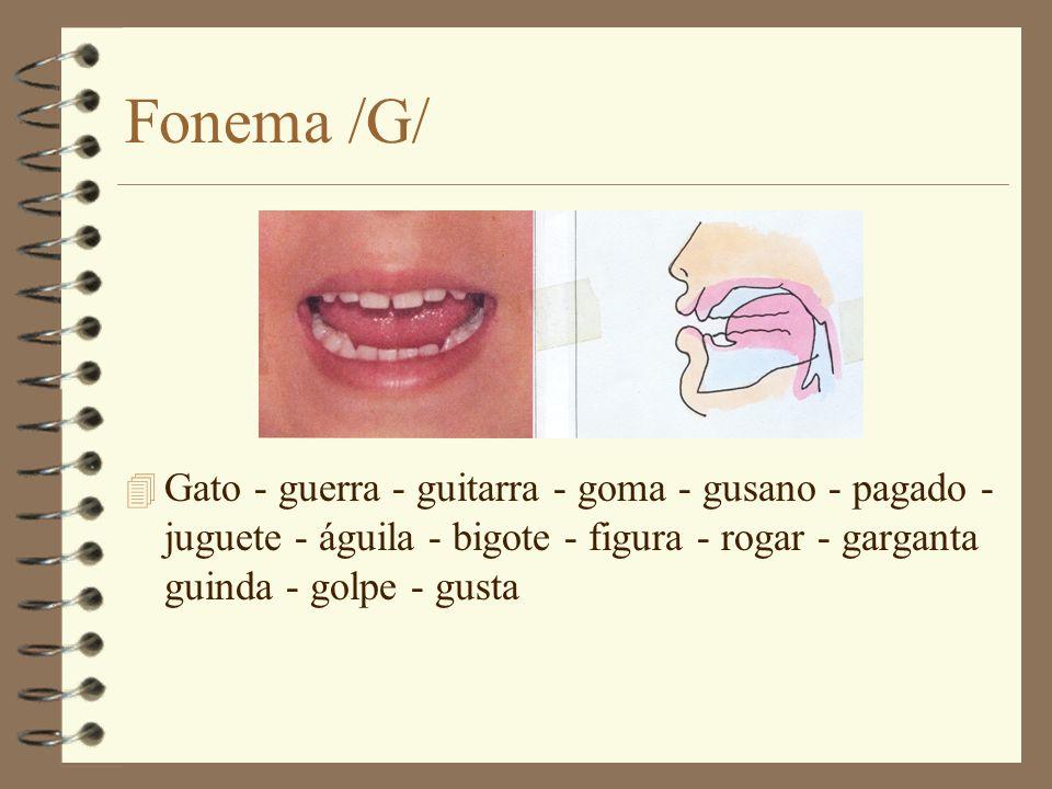 Fonema /G/ Gato - guerra - guitarra - goma - gusano - pagado - juguete - águila - bigote - figura - rogar - garganta guinda - golpe - gusta.