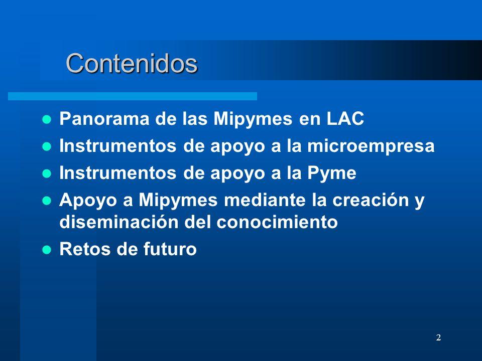 Contenidos Panorama de las Mipymes en LAC