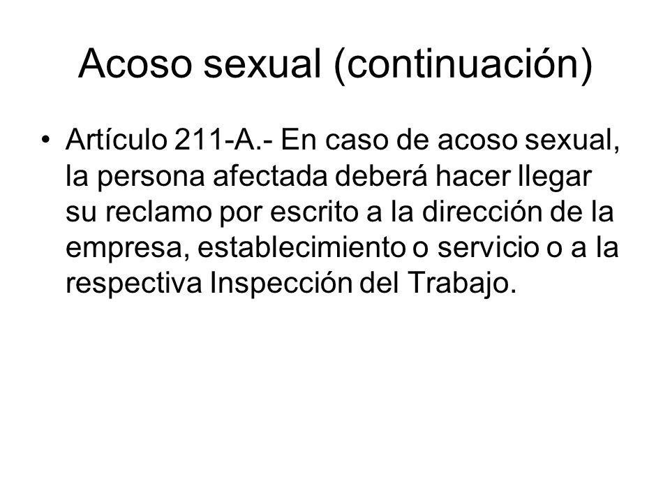 Acoso sexual (continuación)