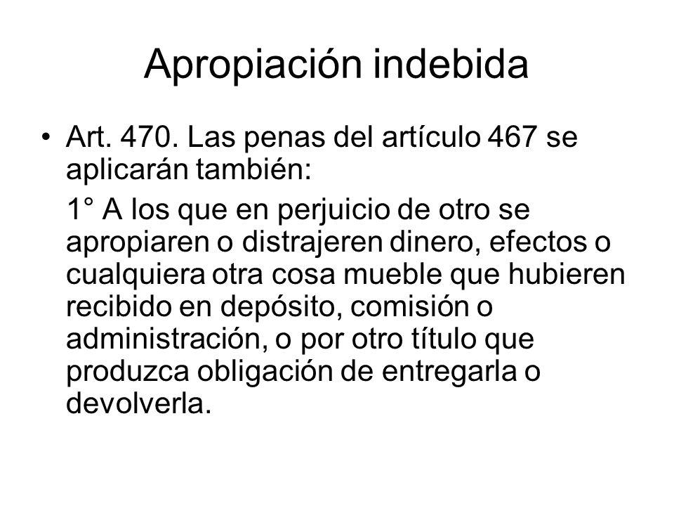 Apropiación indebida Art. 470. Las penas del artículo 467 se aplicarán también: