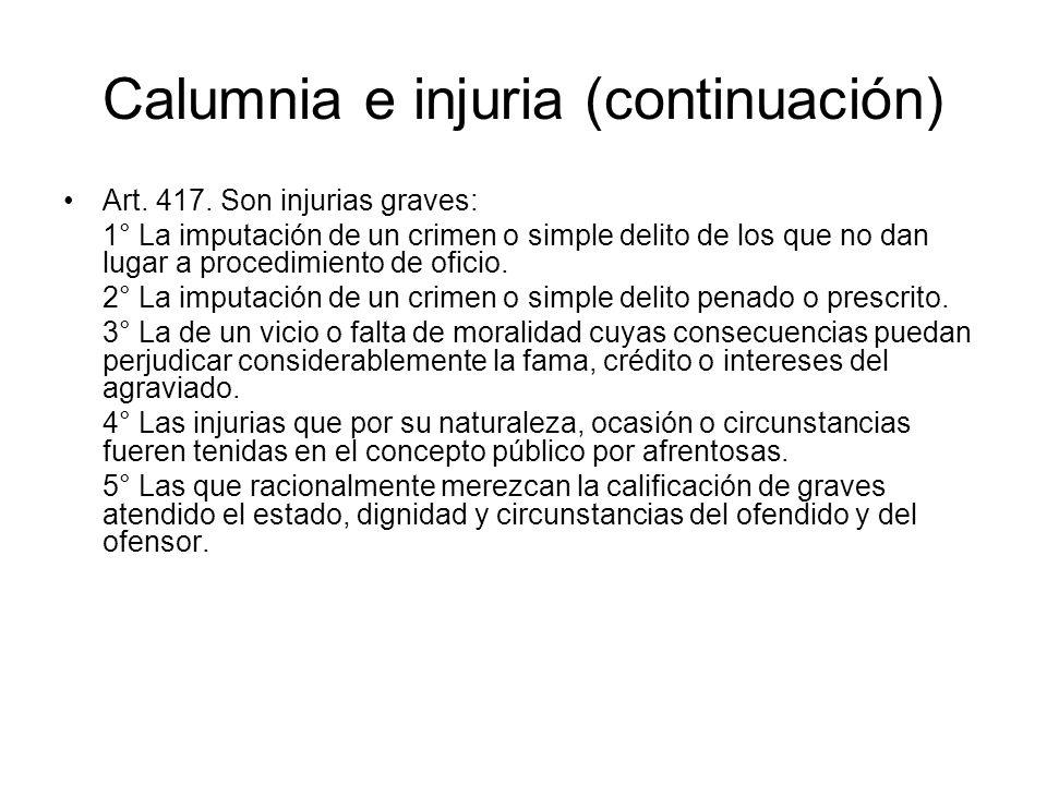 Calumnia e injuria (continuación)