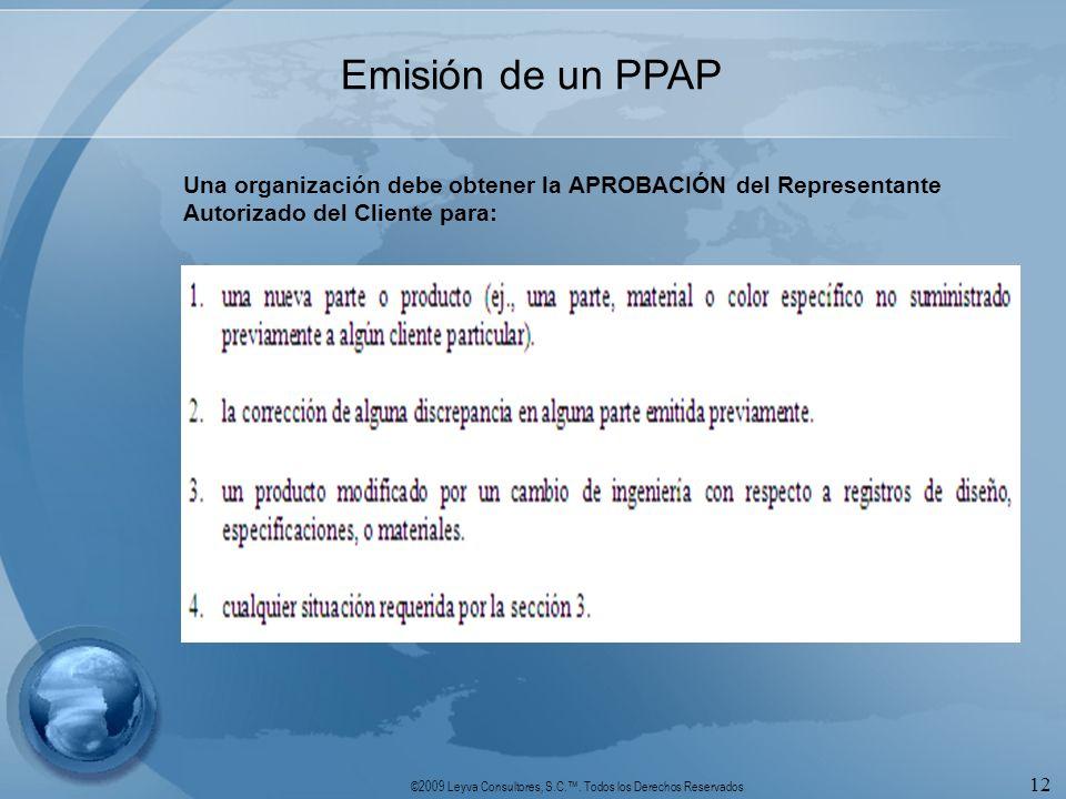 Emisión de un PPAP Una organización debe obtener la APROBACIÓN del Representante Autorizado del Cliente para: