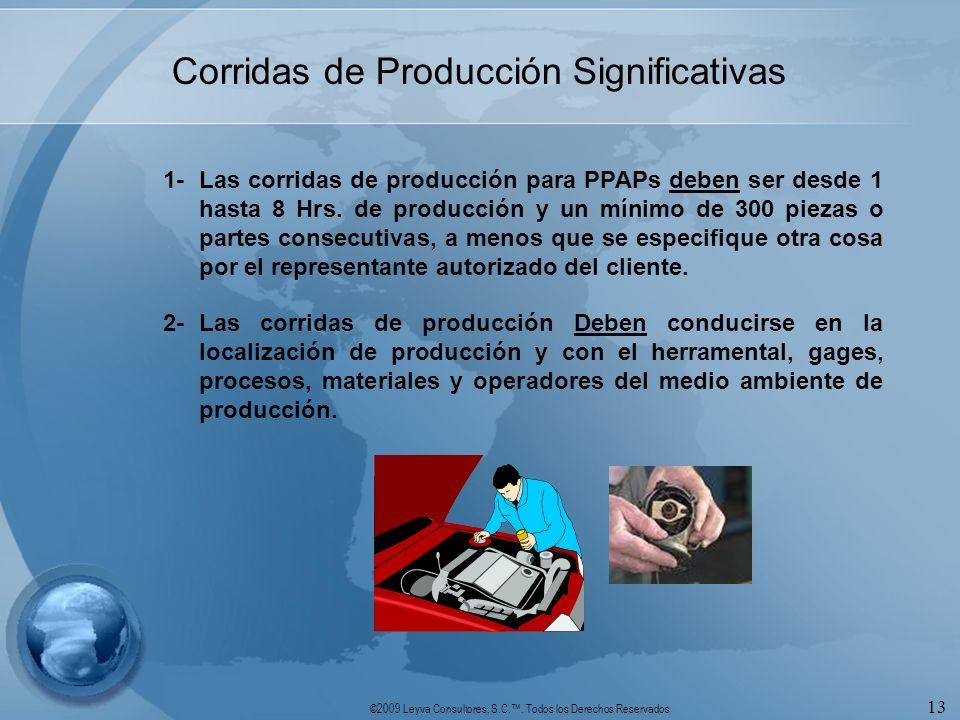 Corridas de Producción Significativas