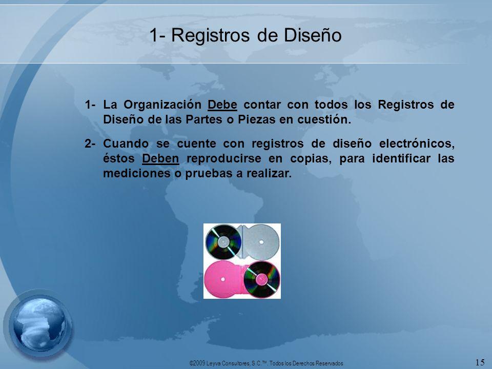 1- Registros de Diseño 1- La Organización Debe contar con todos los Registros de Diseño de las Partes o Piezas en cuestión.