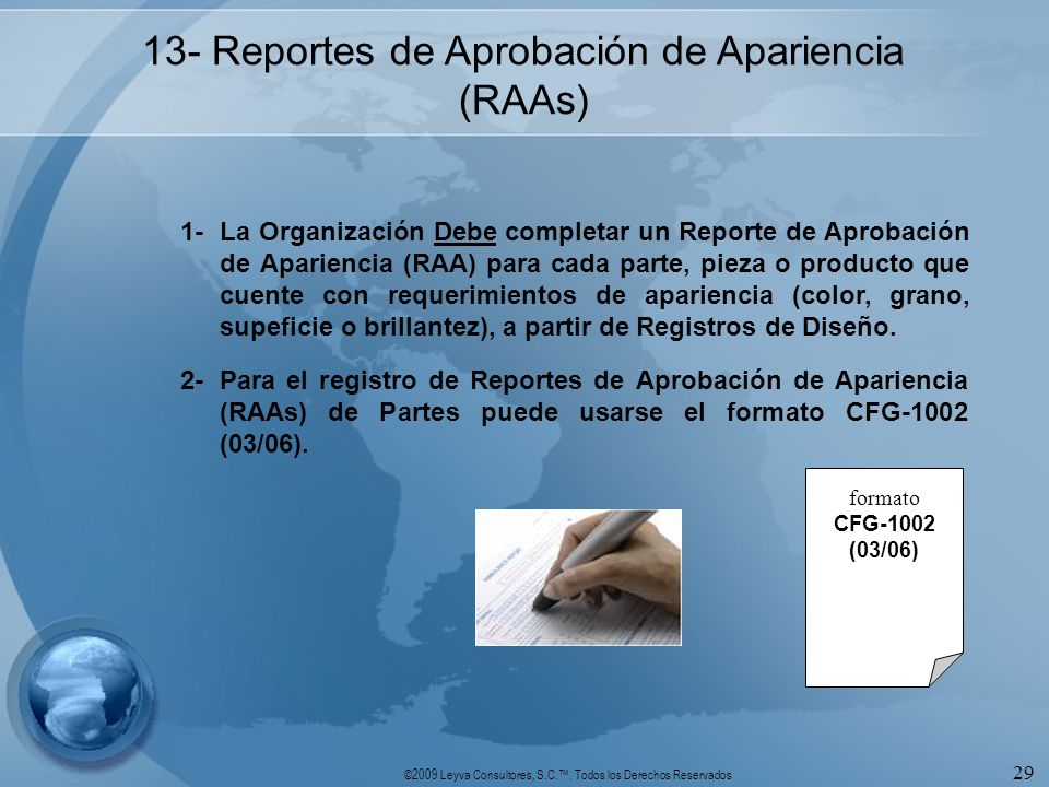 13- Reportes de Aprobación de Apariencia (RAAs)