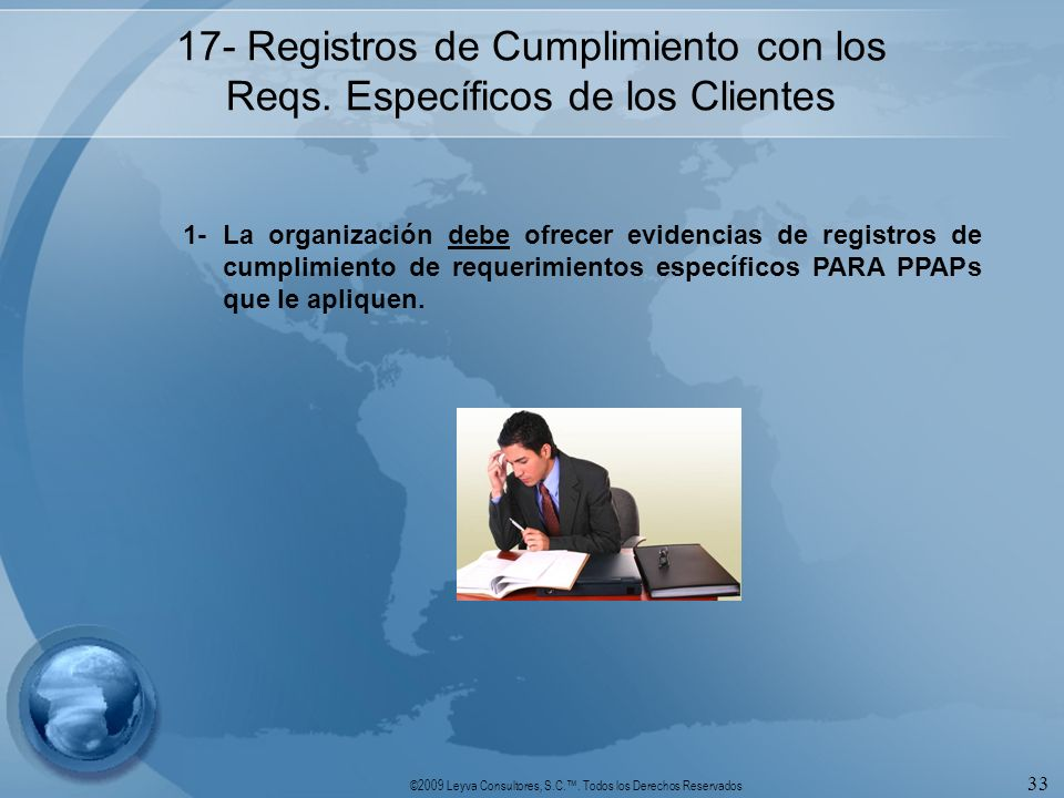 17- Registros de Cumplimiento con los Reqs. Específicos de los Clientes