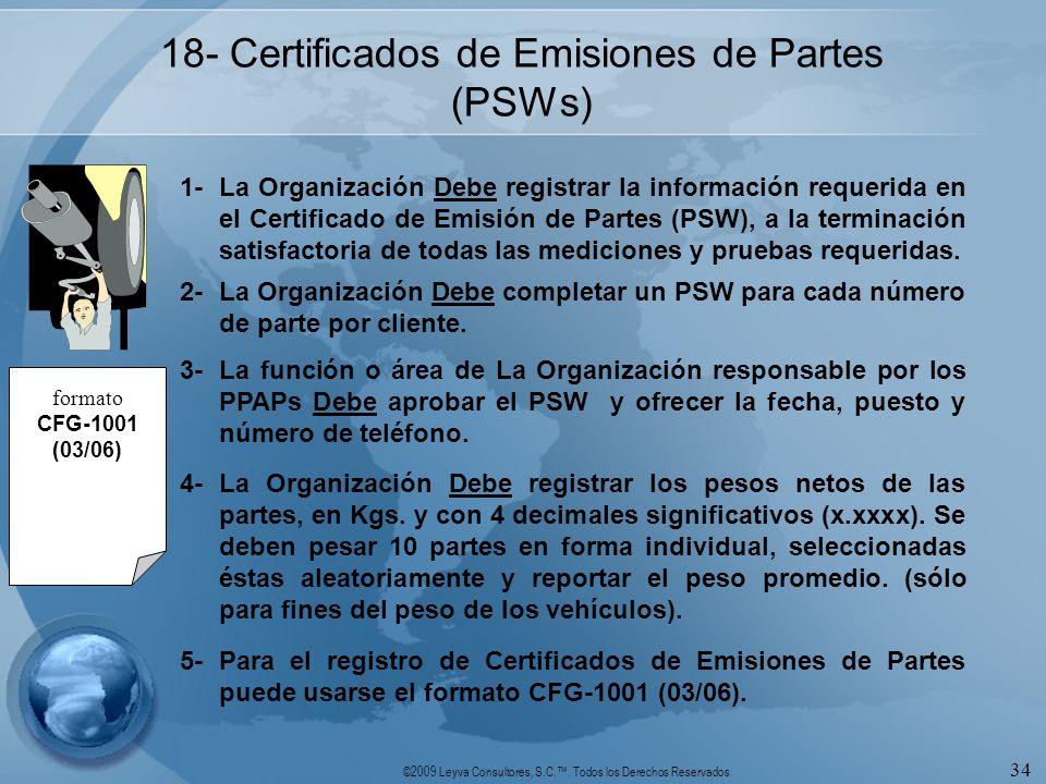 18- Certificados de Emisiones de Partes (PSWs)