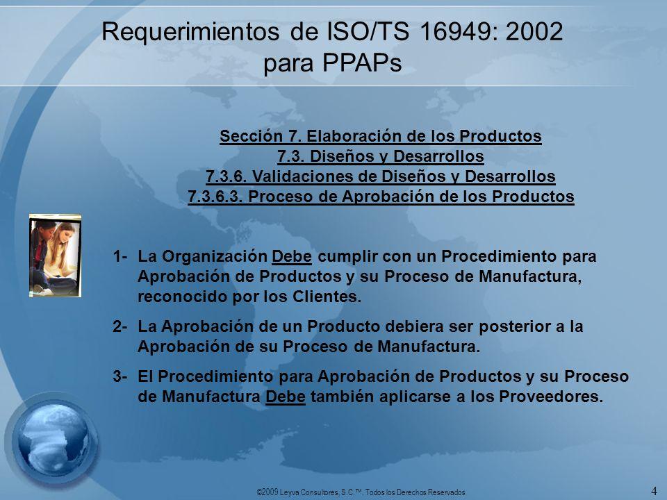 Requerimientos de ISO/TS 16949: 2002 para PPAPs