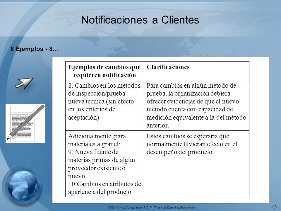 Ejemplos de cambios que requieren notificación