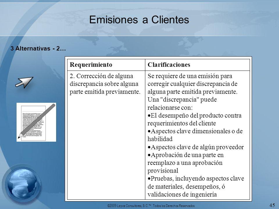 Emisiones a Clientes 3 Alternativas - 2… Se requiere de una emisión para corregir cualquier discrepancia de alguna parte emitida previamente.