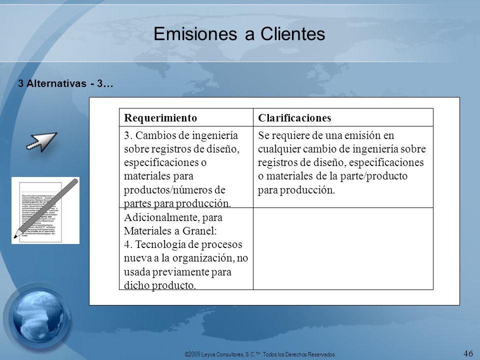 Emisiones a Clientes Adicionalmente, para Materiales a Granel: