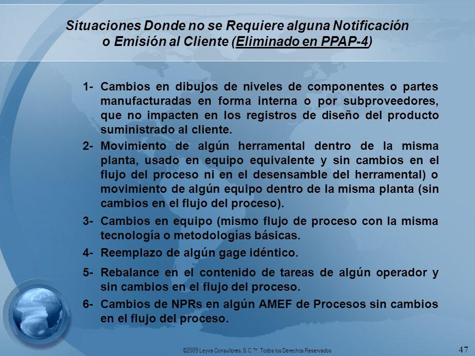 Situaciones Donde no se Requiere alguna Notificación o Emisión al Cliente (Eliminado en PPAP-4)
