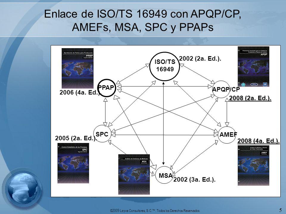 Enlace de ISO/TS 16949 con APQP/CP, AMEFs, MSA, SPC y PPAPs