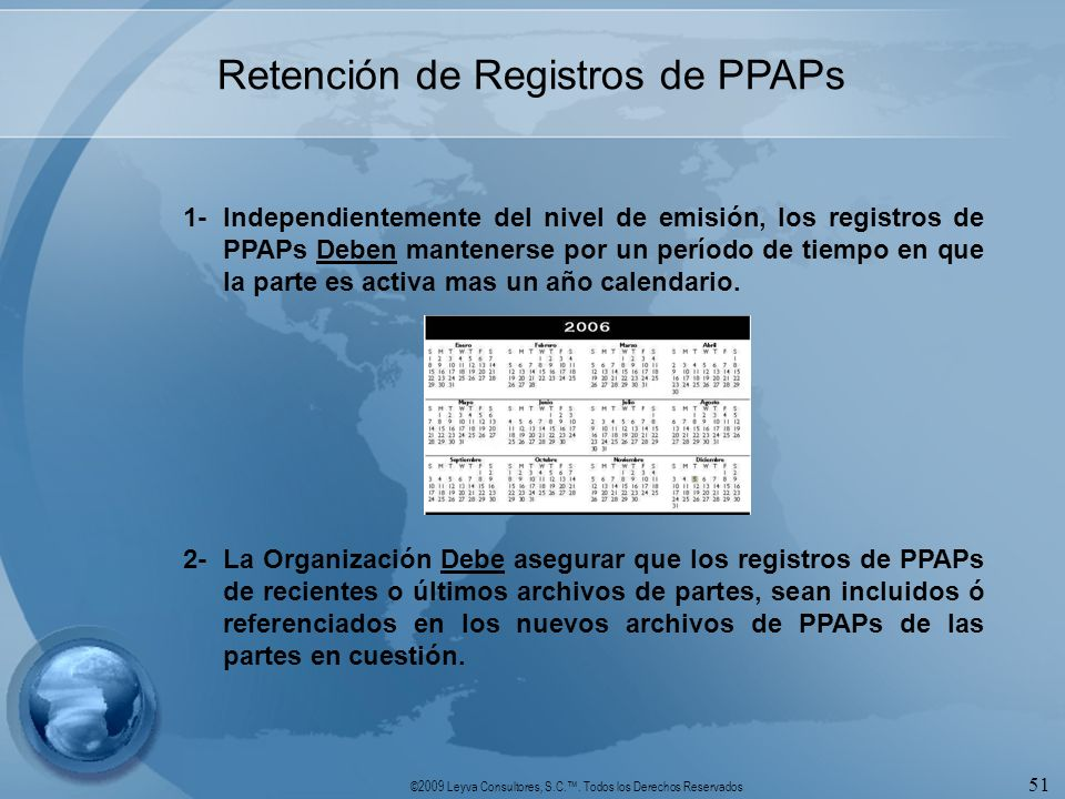Retención de Registros de PPAPs