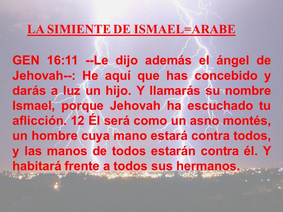 LA SIMIENTE DE ISMAEL=ARABE
