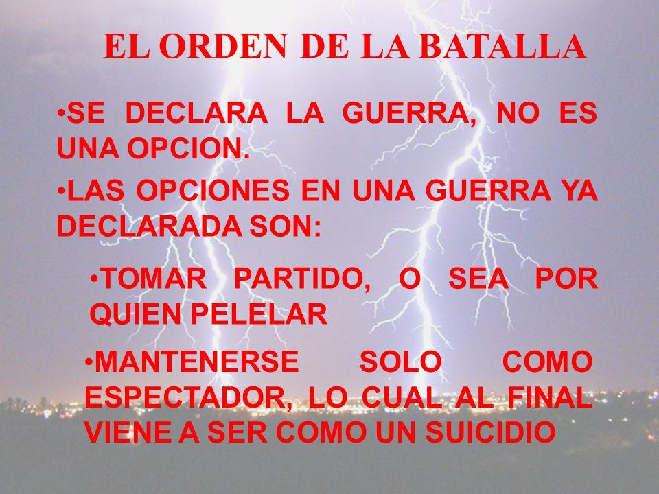 EL ORDEN DE LA BATALLA SE DECLARA LA GUERRA, NO ES UNA OPCION.