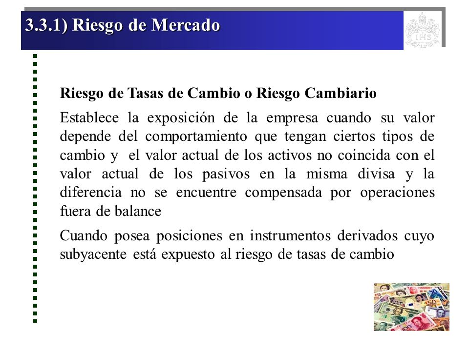 3.3.1) Riesgo de Mercado Riesgo de Tasas de Cambio o Riesgo Cambiario