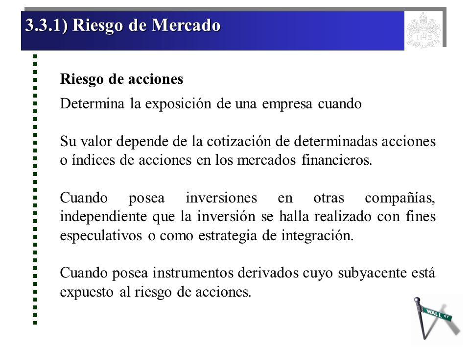 3.3.1) Riesgo de Mercado Riesgo de acciones