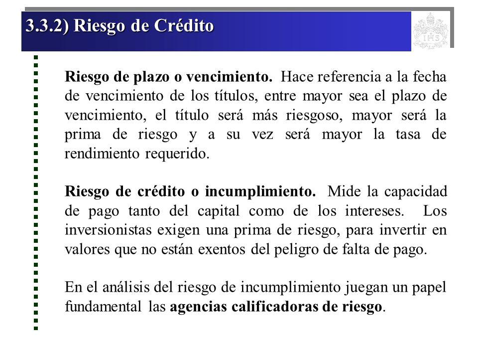 3.3.2) Riesgo de Crédito