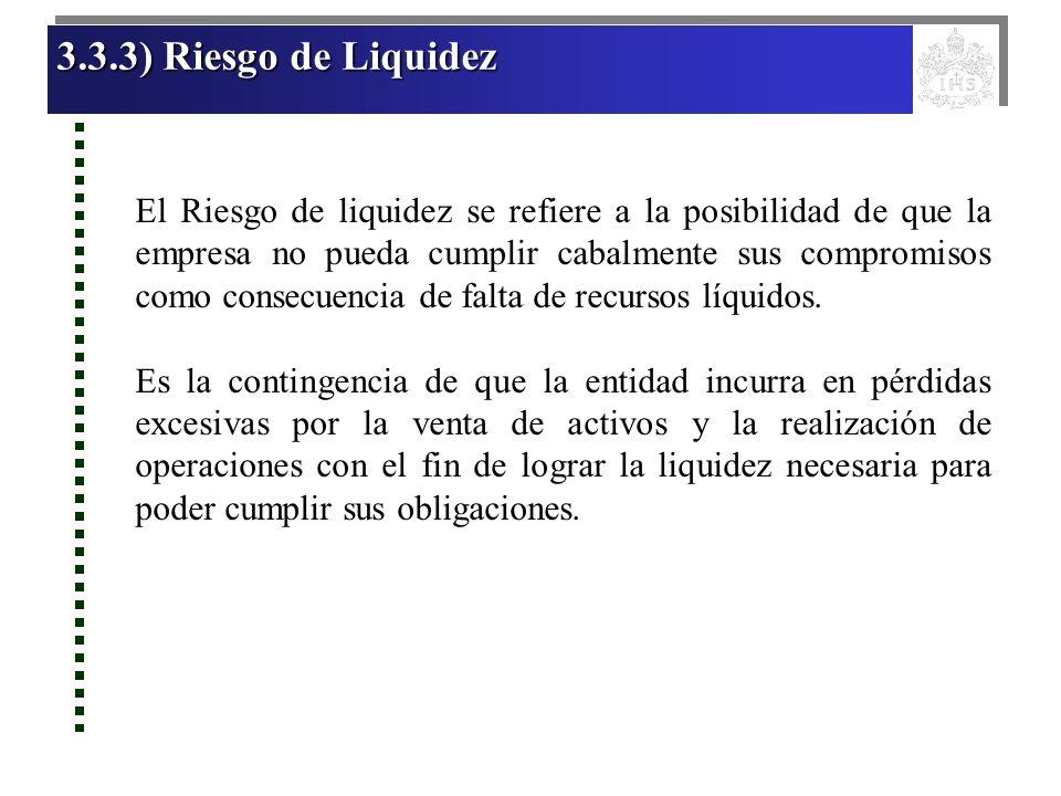 3.3.3) Riesgo de Liquidez