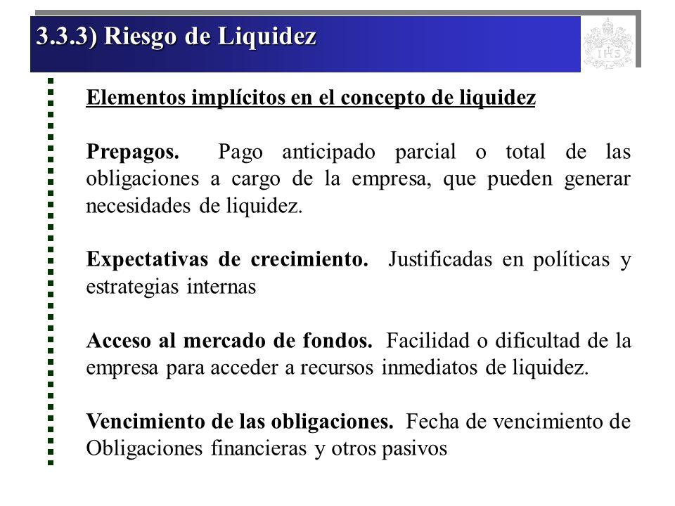 3.3.3) Riesgo de LiquidezElementos implícitos en el concepto de liquidez.