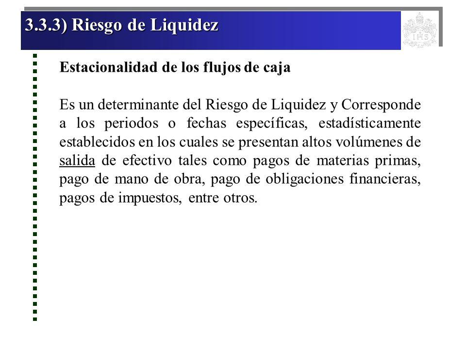3.3.3) Riesgo de Liquidez Estacionalidad de los flujos de caja