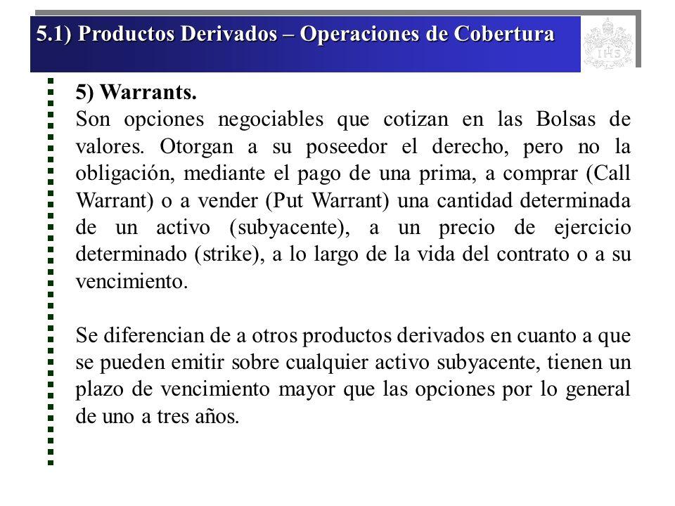 5.1) Productos Derivados – Operaciones de Cobertura