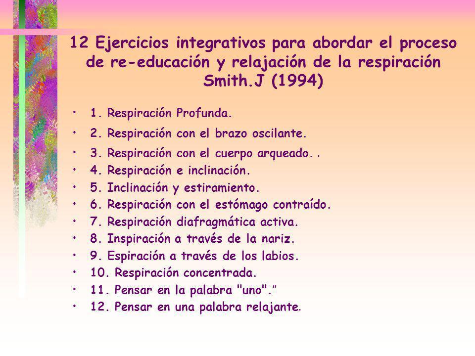 12 Ejercicios integrativos para abordar el proceso de re-educación y relajación de la respiración Smith.J (1994)