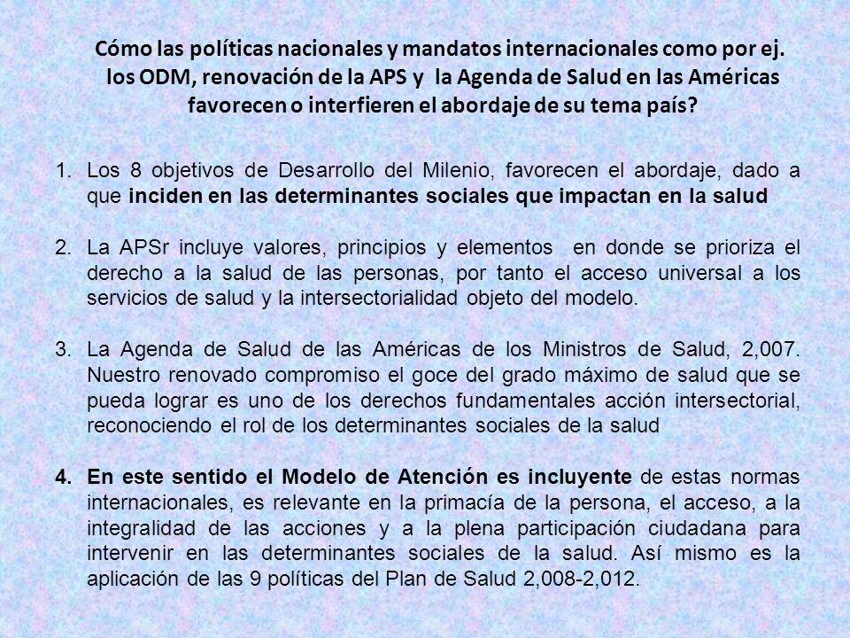 Cómo las políticas nacionales y mandatos internacionales como por ej.