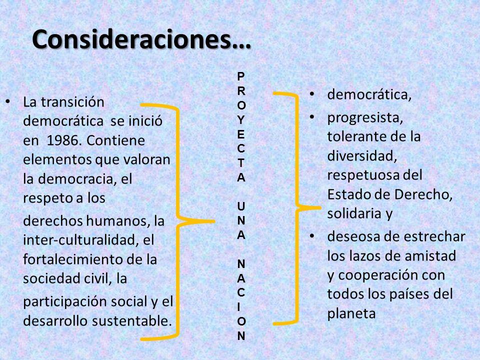 Consideraciones… democrática,