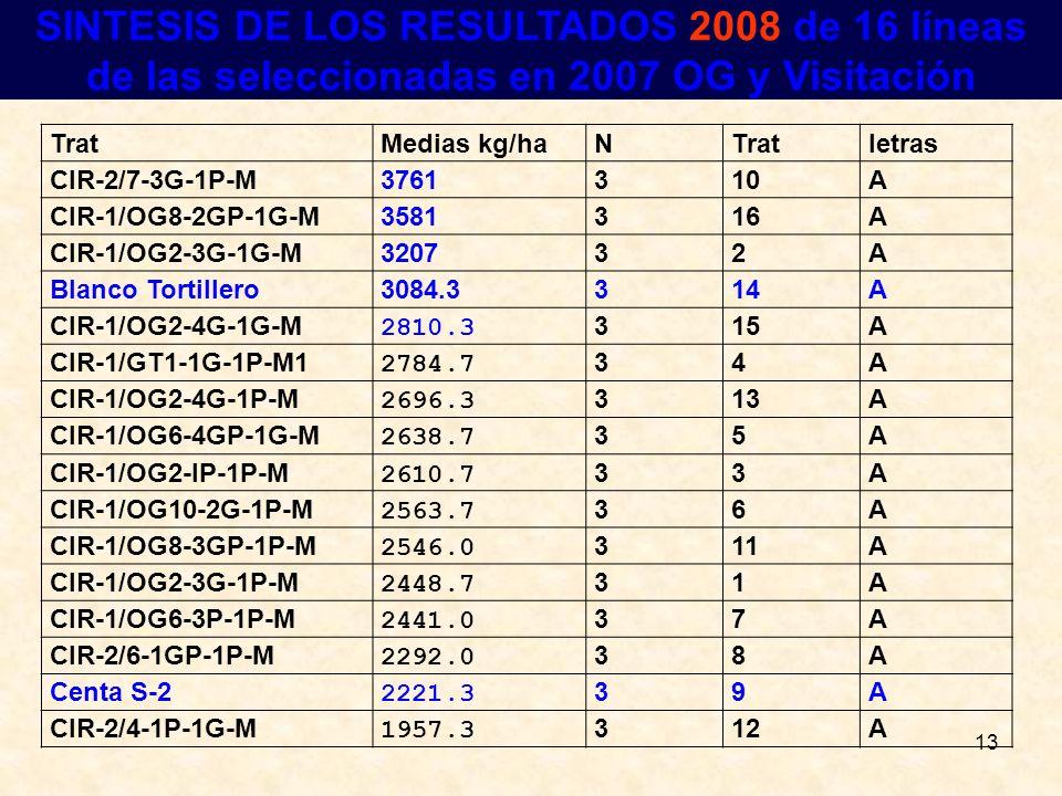 SINTESIS DE LOS RESULTADOS 2008 de 16 líneas de las seleccionadas en 2007 OG y Visitación