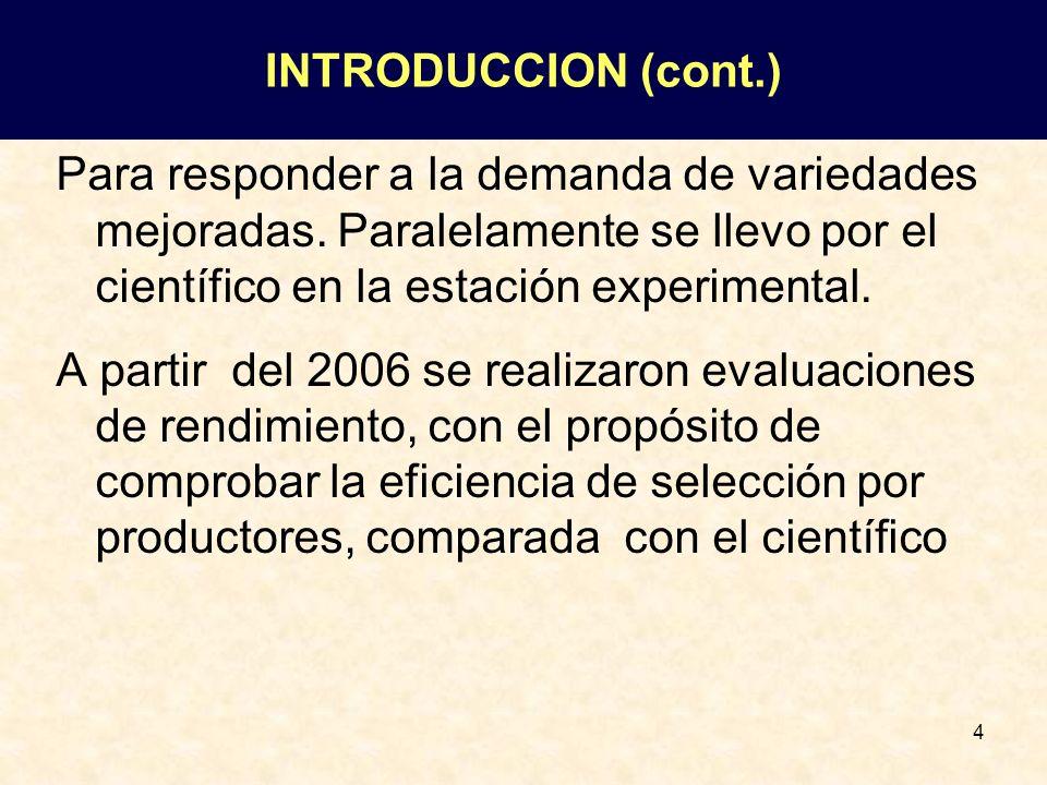 INTRODUCCION (cont.) Para responder a la demanda de variedades mejoradas. Paralelamente se llevo por el científico en la estación experimental.
