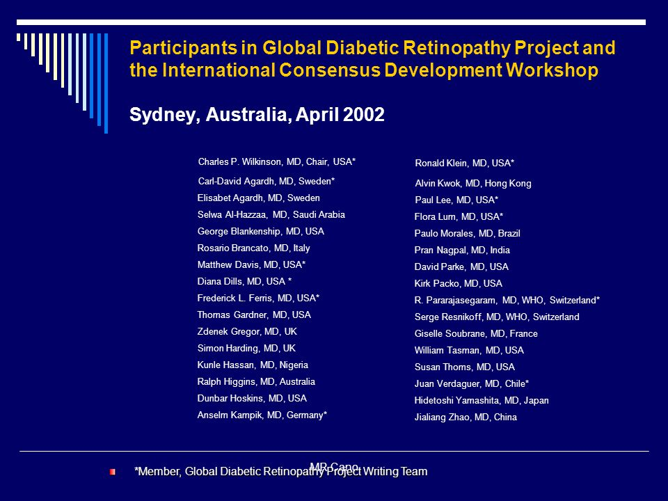 Participants in Global Diabetic Retinopathy Project and the International Consensus Development Workshop Sydney, Australia, April 2002
