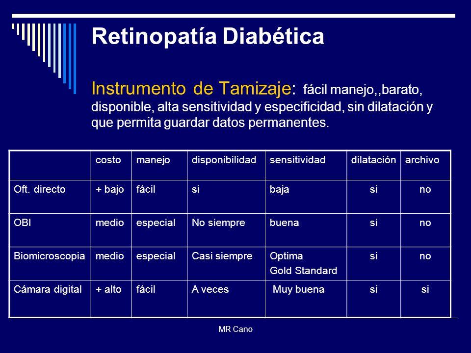 Retinopatía Diabética Instrumento de Tamizaje: fácil manejo,,barato, disponible, alta sensitividad y especificidad, sin dilatación y que permita guardar datos permanentes.