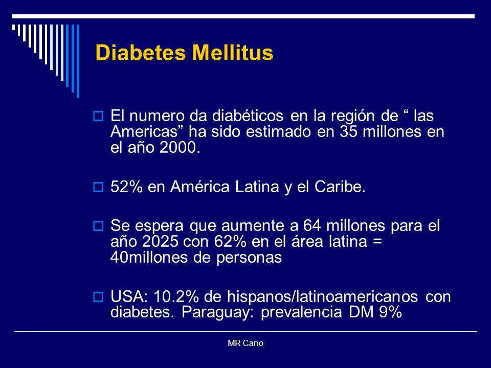 Diabetes Mellitus El numero da diabéticos en la región de las Americas ha sido estimado en 35 millones en el año 2000.