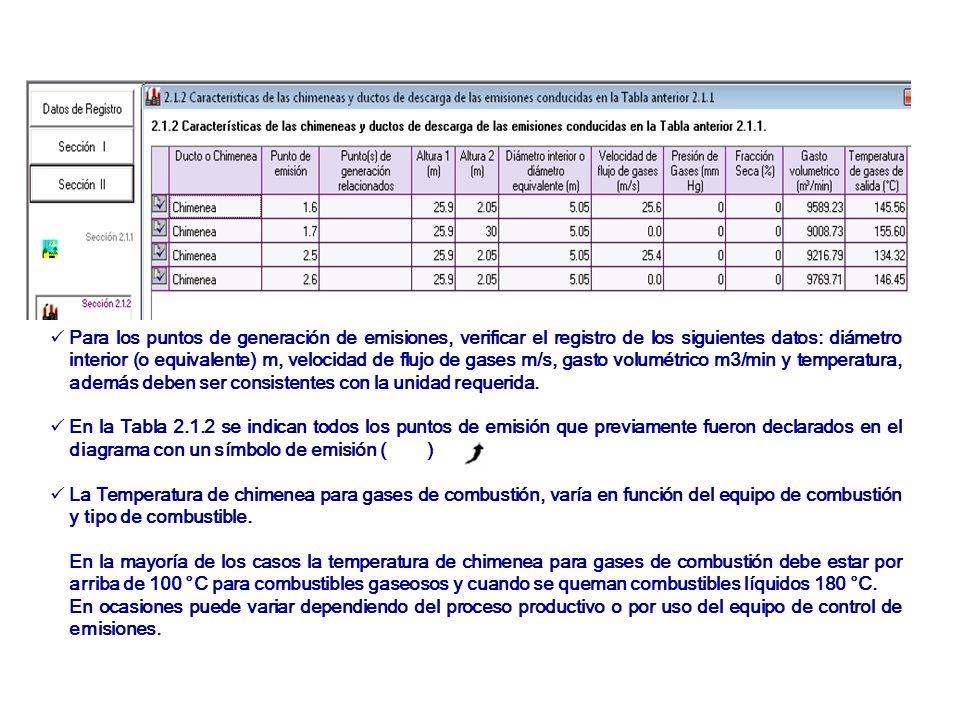 Para los puntos de generación de emisiones, verificar el registro de los siguientes datos: diámetro interior (o equivalente) m, velocidad de flujo de gases m/s, gasto volumétrico m3/min y temperatura, además deben ser consistentes con la unidad requerida.